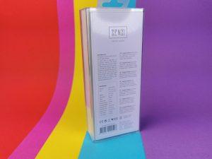 De achterkant van de verpakking van de senzi pinpoint vibrator