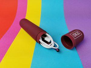 De senzi pinpoint vibrator en de oplader in het opberghoesje