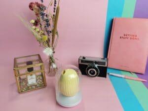 De biird obii staat in de oplader, die er uit ziet als een doorzichtig kooitje. Daar omheen staat een glazen bakje met een flesje parfum, een rond vaasje met droogbloemen, een oude fotocamera, een notitieboek met daarop de tekst getting stuff done en een roze met gele pen. De achtergrond is lichtroze, lichtblauw, mintgroen en lila.